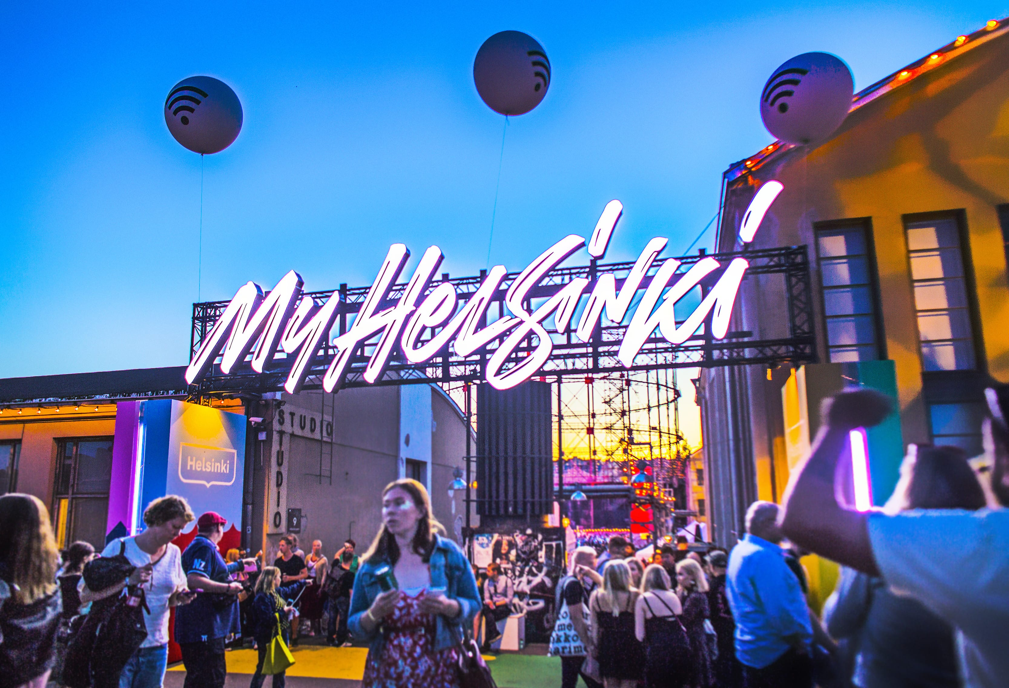 A lighted sign saying MyHelsinki