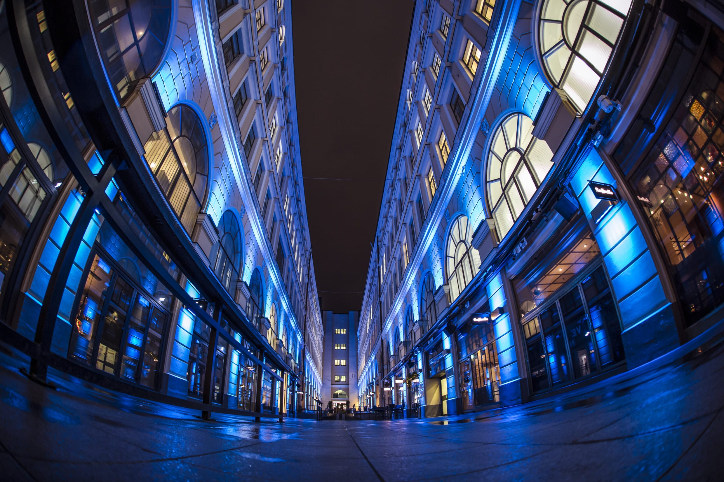 Old Wrede Passage in blue light